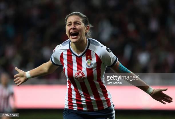 Brenda Viramontes del Chivas celebrates during the Final match between Chivas and Pachuca as part of the Torneo Apertura 2017 Liga MX Femenil at...