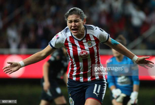 Brenda Viramontes del Chivas celebrates during the Final match between Chivas and Pachuca as part of the Torneo Apertura 2017 Liga MX Femenil at...