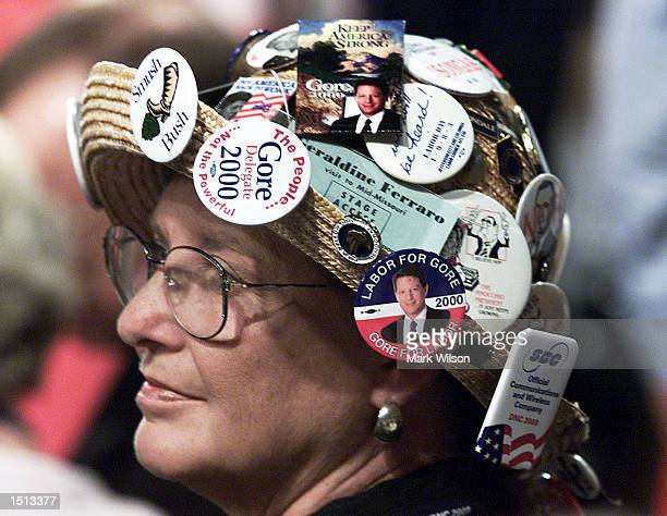 Brenda Watson wears a hat full of campaign buttons at the first night of the Democratic National Convention August 14 2000 in Los Angeles CA