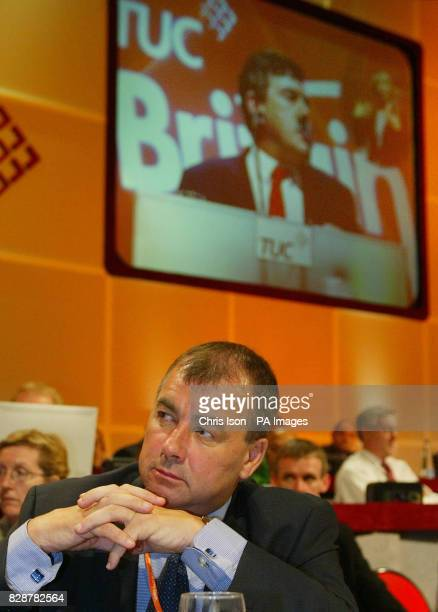 Brendan Barber General Secretary of the TUC listens to the Chancellor for the Exchequer Gordon Brown at the annual TUC conference in Brighton The...