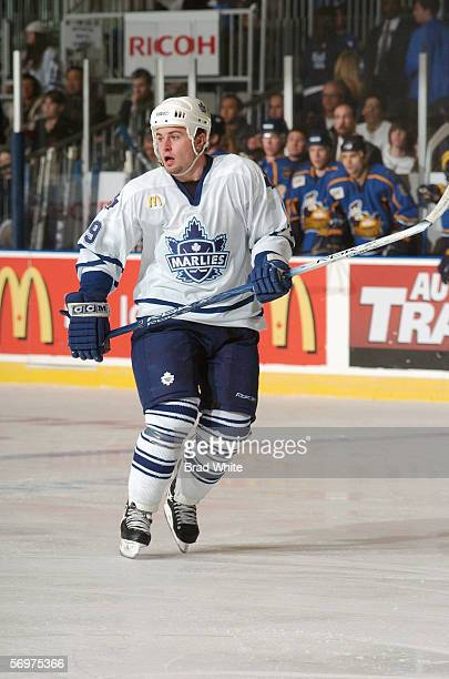 Brendan Bell of the Toronto Marlies skates against the Peoria Rivermen at Ricoh Coliseum on February 3 2006 in Toronto Ontario Canada The Rivermen...