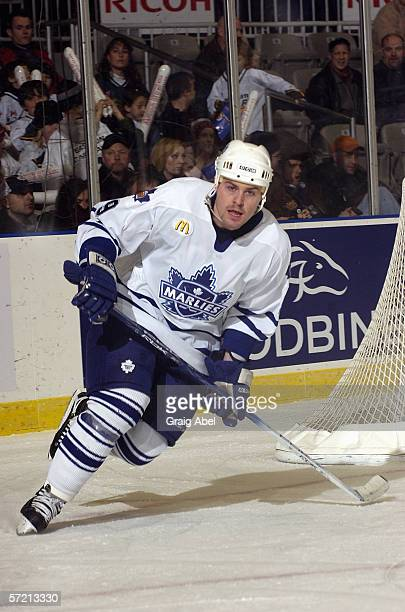 Brendan Bell of the Toronto Marlies skates against the Syracuse Crunch at Ricoh Coliseum on February 17, 2006 in Toronto, Ontario, Canada. Syracuse...