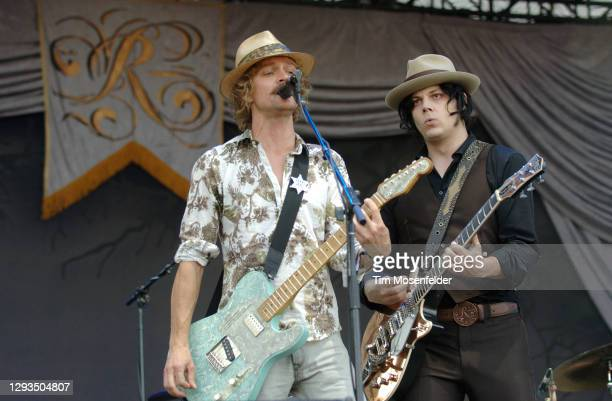 Brendan Benson and Jack White of The Raconteurs perform during the Austin City Limits Music Festival at Zilker Park on September 28, 2008 in Austin,...