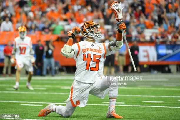 Brendan Bomberry of the Syracuse Orange reacts to his goal against the Cornell Big Red during a 2018 NCAA Division I Men's Lacrosse Championship...