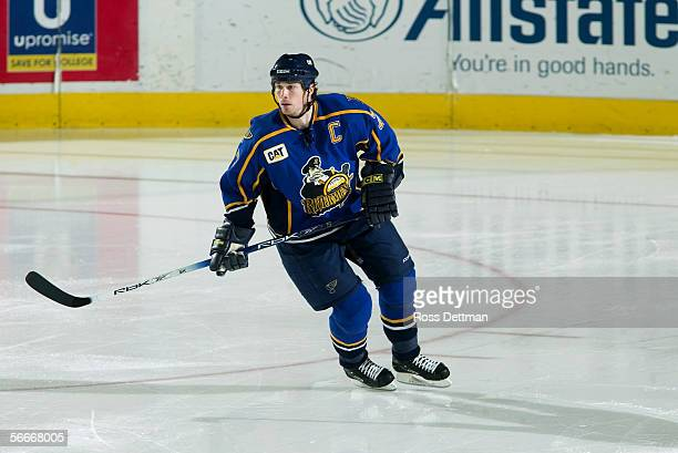 Brendan Buckley of the Peoria Rivermen skates against the Chicago Wolves at Allstate Arena on December 11 2005 in Rosemont Illinois The Wolves won 41