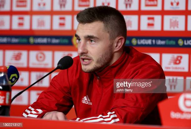 Brendan Chardonnet of Brest answers to the media during the post-match press conference following the Ligue 1 match between Lille OSC and Stade...