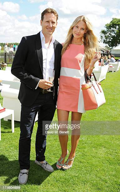 Brendan Cole and wife Zoe Cole attend the Audi International Polo at Guards Polo Club on July 28 2013 in Egham England