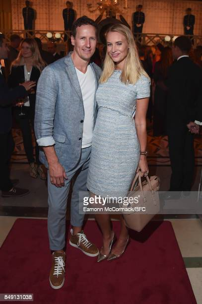 Brendan Cole and Zoe Hobbs attend the Aspinal of London presentation during London Fashion Week September 2017 on September 18 2017 in London England