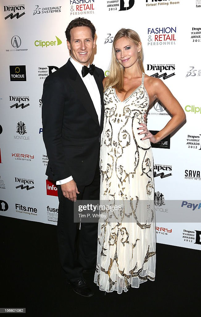 Brendan Cole and Zoe Hobbs attend the Drapers Fashion Awards at Grosvenor House, on November 21, 2012 in London, England.