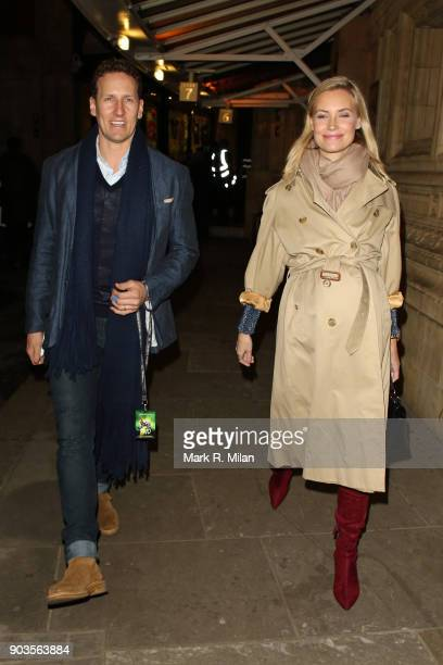 Brendan Cole and Zoe Hobbs leaving the Royal Albert Hall after watching OVO Cirque du Soleil on January 10 2018 in London England