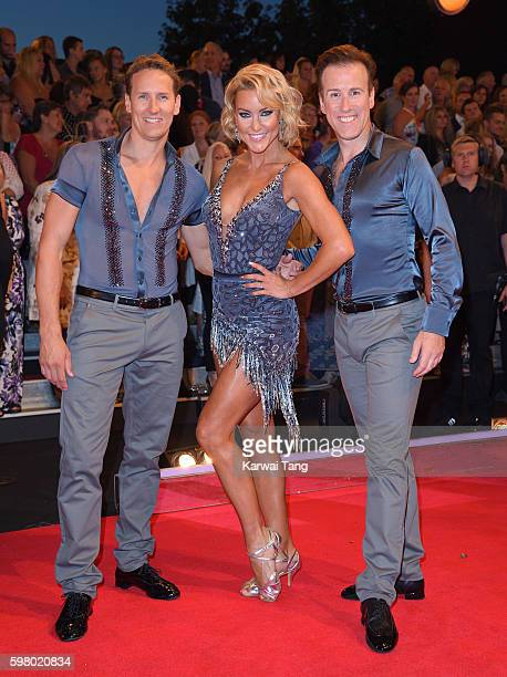 Brendan Cole Natalie Lowe and Anton du Beke arrive for the Red Carpet Launch of 'Strictly Come Dancing 2016' at Elstree Studios on August 30 2016 in...