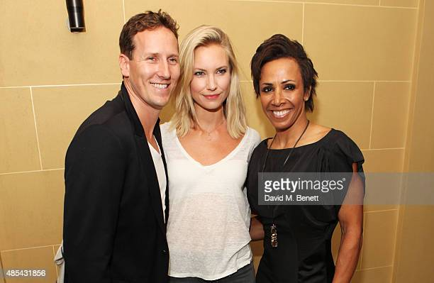 Brendan Cole Zoe Cole and Dame Kelly Holmes attend the after party following the press night performance of 'McQueen' at The Club at Cafe Royal on...