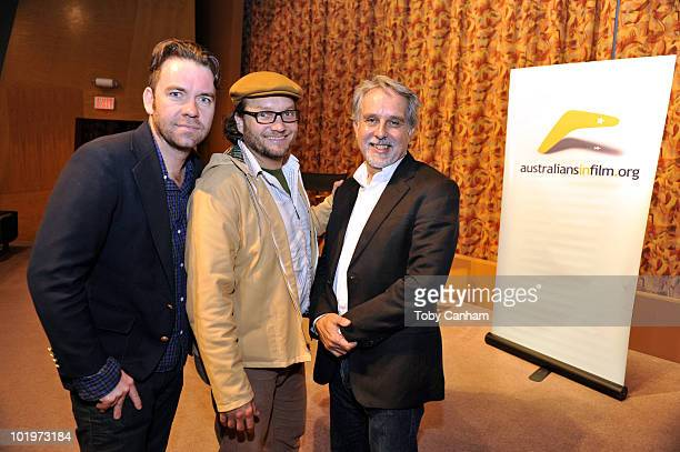 Brendan Cowell Jeremy Sims and David Roach pose for a picture at the Australians In Film screening of Beneath Hill 60 on June 10 2010 in Beverly...