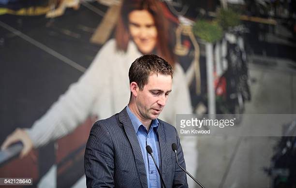 Brendan Cox husband of Jo Cox delivers a speech during a memorial event for murdered Labour MP Jo Cox at Trafalger Square on June 22 2016 in London...