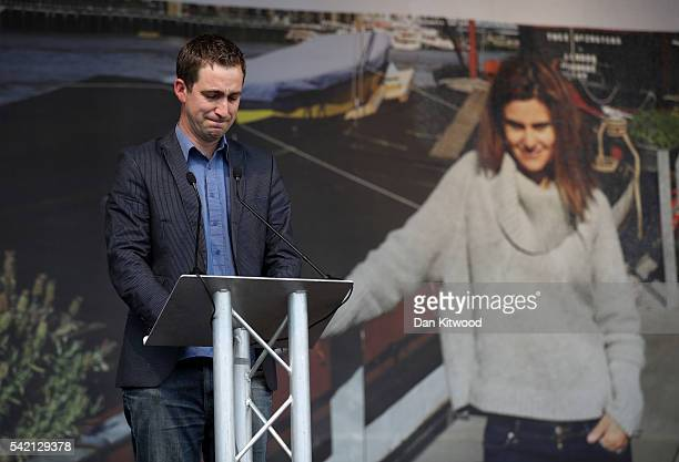 Brendan Cox, husband of Jo Cox, delivers a speech during a memorial event for murdered Labour MP Jo Cox at Trafalger Square on June 22, 2016 in...