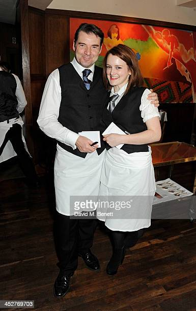 Brendan Coyle and Sophie McShera wait tables during One Night Only at The Ivy in aid of Acting For Others supported by Tanqueray No TEN at The Ivy on...