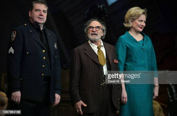 Brendan Coyle David Suchet and Sara Stewart bow at the curtain call during a press night performance of The Price at Wyndhams Theatre on February 11...