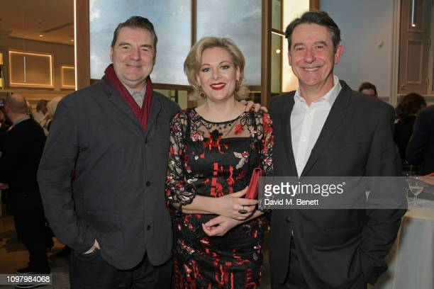 Brendan Coyle Sara Stewart and Adrian Lukis attend the press night after party for The Price at The National Cafe on February 11 2019 in London...
