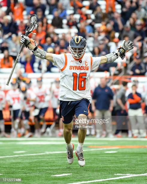 Brendan Curry of the Syracuse Orange celebrates his goal against the Army Black Knights during the second half at the Carrier Dome on February 23,...