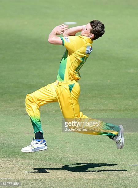 Brendan Doggett of CA XI bowls during the Matador BBQs One Day Cup match between Tasmania and the Cricket Australia XI at Allan Border Field on...