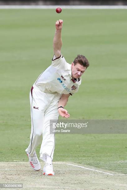 Brendan Doggett of the Bulls bowls during day one of the Sheffield Shield match between Queensland and Western Australia at The Gabba on March 06,...