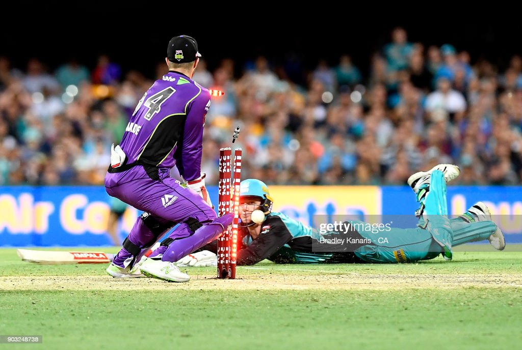Brendan Doggett of the Heat makes his ground during the Big Bash League match between the Brisbane Heat and the Hobart Hurricanes at The Gabba on January 10, 2018 in Brisbane, Australia.