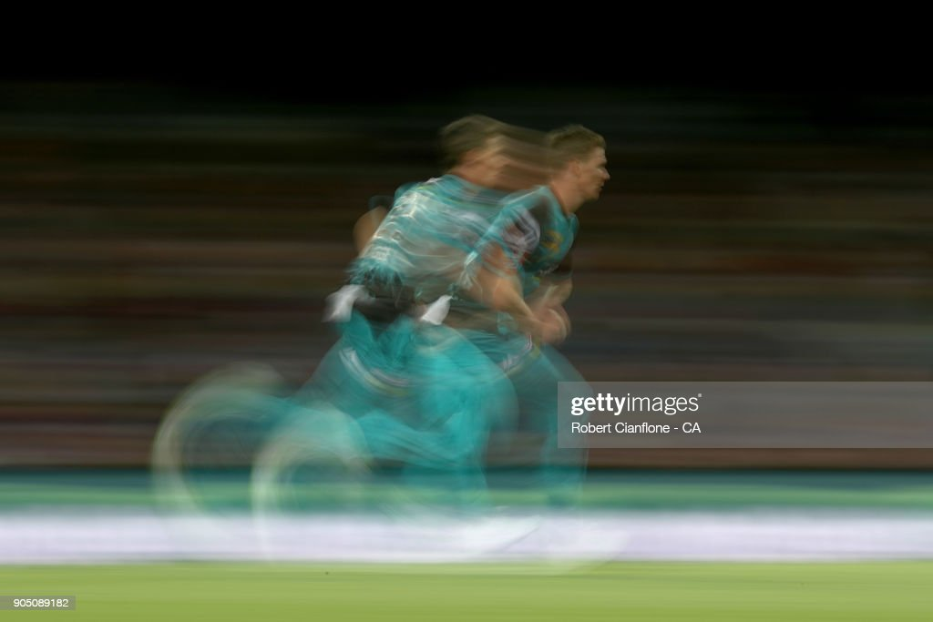 Brendan Doggett of the Heat runs in to bowl during the Big Bash League match between the Hobart Hurricanes and the Brisbane Heat at Blundstone Arena on January 15, 2018 in Hobart, Australia.
