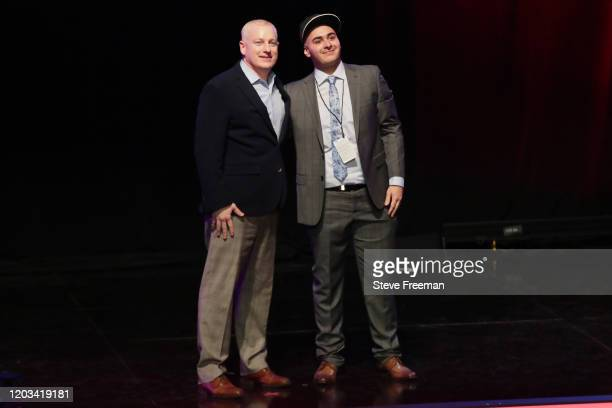 Brendan Donahue poses with x I Know Killeyy during the NBA 2K League Draft on February 22 2020 at Terminal 5 in New York New York NOTE TO USER User...