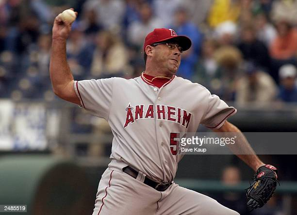 Brendan Donnelly of the Anaheim Angels throws against the Kansas City Royals during the game on August 31 2003 at Kauffman Stadium in Kansas City...