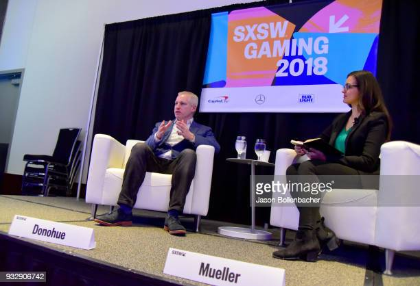 Brendan Donohue and Saira Mueller speak onstage at Hoops and Gaming Why the NBA Started an Esports League during SXSW at Austin Convention Center on...