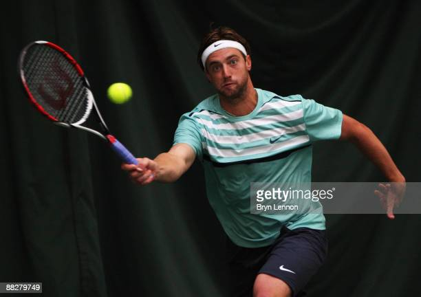 Brendan Evans of the USA in action on his way to winning the men's singles final in the Aegon Trophy Nottingham at the Nottingham Tennis Centre on...