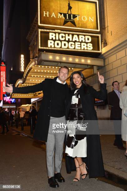 Brendan Fallis and DJ Hannah Bronfman attends the American Express Celebrates The New Platinum Card With Hamilton Takeover Experience on April 1 2017...