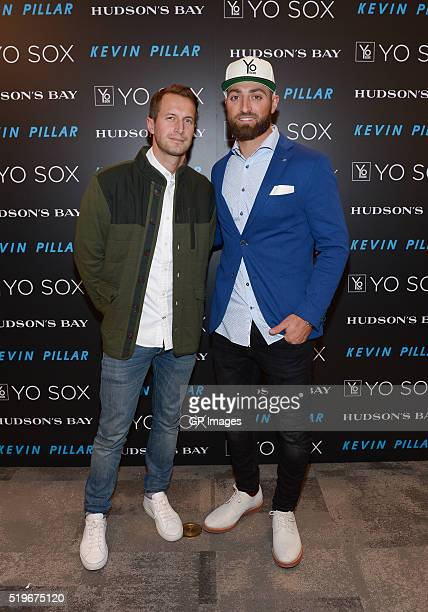 Brendan Fallis and Toronto Blue Jay player Kevin Pillar attend the Hudson's Bay welcomes Toronto's Kevin Pillar for Guys Night Out Toronto Queen...