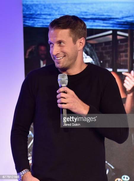 Brendan Fallis speaks on stage during the POPSUGAR 2017 Digital NewFront at Industria Studios on May 3 2017 in New York City
