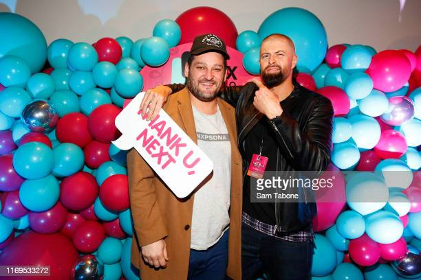 Brendan Fevola and Byron Cooke attend the Fox FM Thank U Ex Singles Party on August 22 2019 in Melbourne Australia
