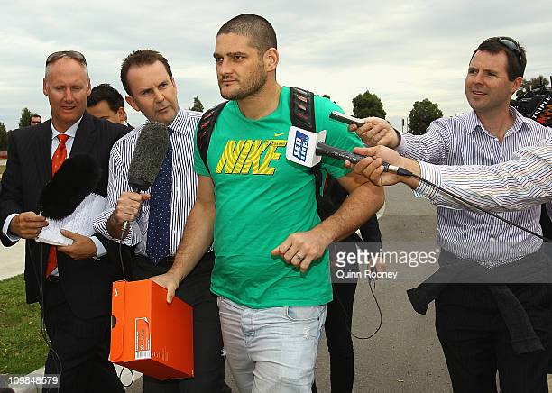 Brendan Fevola arrives for a Casey Scorpions VFL training session at Casey Fields on March 8 2011 in Melbourne Australia