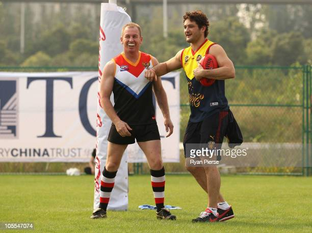 Brendan Fevola of the Lions wearing a Guangzhou Scorpions jumper enters the ground during a match of the the Asian Cup Tournament on October 16 2010...