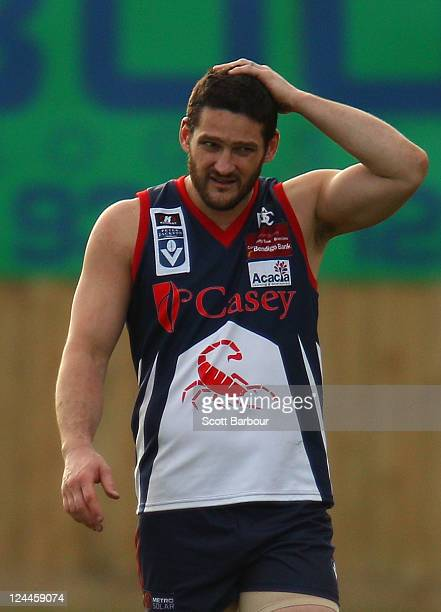 Brendan Fevola of the Scorpions walks from the field after the VFL Semi Final match between the Casey Scorpions and the Werribee Tigers at TEAC Oval...