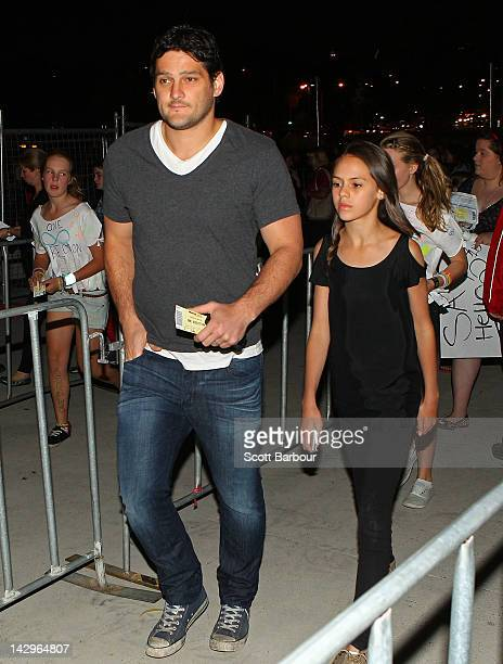 Brendan Fevola walks through the gates to attend the One Direction concert at Hisense Arena on April 16 2012 in Melbourne Australia