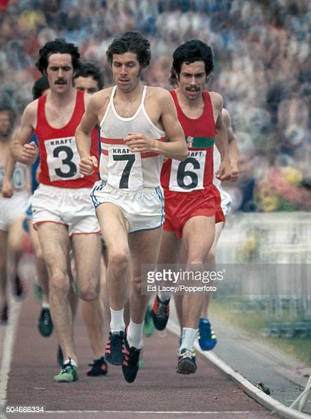 Brendan Foster Bernie Ford and David Black competing in the men's 10000 metres event during the Olympic trials at Crystal Palace in London on 12th...