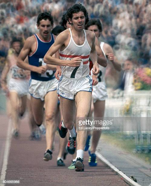 Brendan Foster leads in the men's 10000 metres event during the Olympic trials at Crystal Palace in London on 12th June 1976