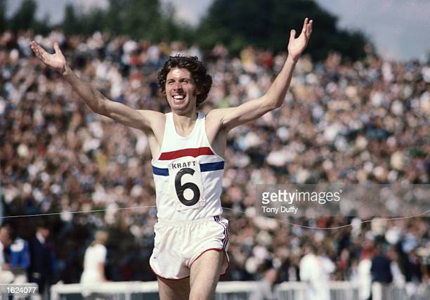 Brendan Foster of Great Britain celebrates after winning the 5000 Metres during the Great Britain v Russia match at Crystal Palace London Mandatory...
