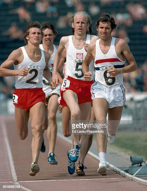 Brendan Foster of Great Britain leads A Frackowiak and Henrik Wasilewski of Poland and Tony Settle of Great Britain and Dave Hill of Canada the...