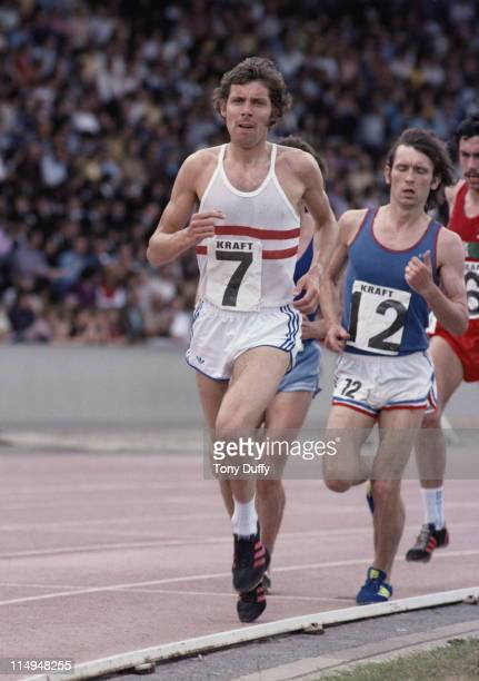 Brendan Foster of Great Britain on his way to winning the 10000 metres in the official trials for the 1976 Summer Olympic Games at the Kraft Games on...