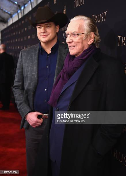 Brendan Fraser and Donald Sutherland attend the 2018 FX Annual AllStar Party at SVA Theater on March 15 2018 in New York City