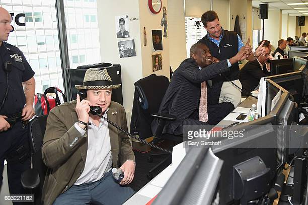 Brendan Fraser and Dwight 'Doc' Gooden attend Annual Charity Day hosted by Cantor Fitzgerald BGC and GFI at BGC Partners INC on September 12 2016 in...