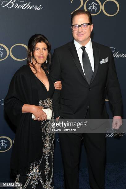 Brendan Fraser and Guest attends Brooks Brothers Bicentennial Celebration on April 25 2018 in New York City
