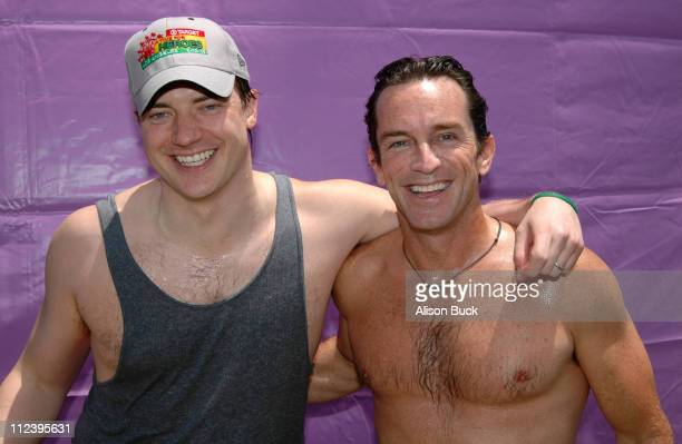 Brendan Fraser and Jeff Probst after dunking one another in the Target Dunk Tank