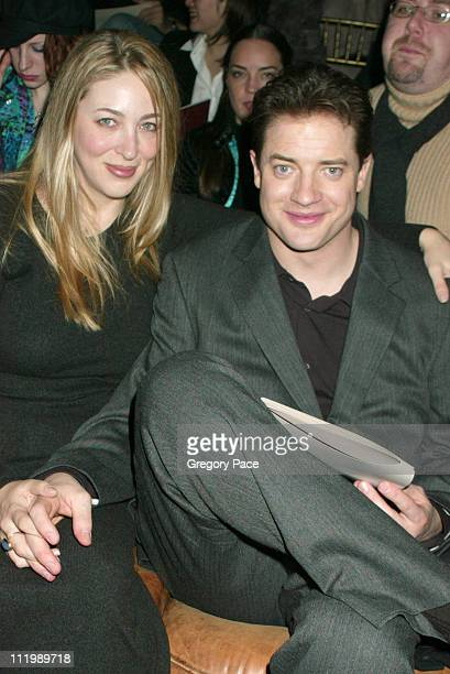 Brendan Fraser and wife Afton during John Varvatos Fall 2003 Men's Fashion Show at Bryant Park in New York NY United States