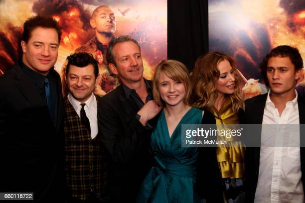 Brendan Fraser Andy Serkis Eliza Hope Bennett Sienna Guillory and Rafi Gavron attend The New York Premiere of INKHEART at AMC Loews Lincoln Square on...